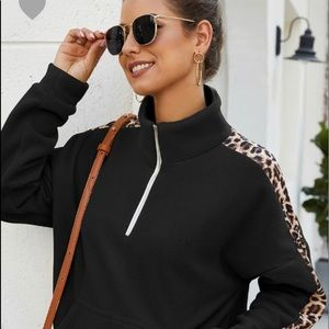 Leopard/ black pull over sweater
